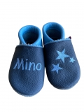Lederpuschen Name & Sterne in dunkelblau / hellblau