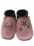 Lederpuschen Name & Sterne in rosa / dunkelgrau